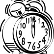 Stock Vector: Black and white alarm clock ringing at 12 o clock