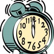 Green alarm clock ringing at midnight or noon — 图库矢量图片