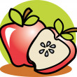 Royalty-Free Stock Vector Image: Halved red apple resting in front of a whole apple