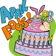Man in a bunny suit popping out of an april fools cake — Stock Vector