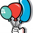 Royalty-Free Stock Vector Image: Clown\'s hand holding green, blue and red party balloons