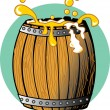 Royalty-Free Stock Vector Image: Golden beer splashing over the top of a wooden barrel