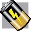 Royalty-Free Stock Vector Image: Battery with a lightning symbol and gold and black