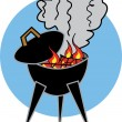 Flames over charcoal casting smoke over a bbq grill — Stock Vector