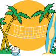 Surfboard leaning against a palm tree near a beach volleyball net - Stock Vector