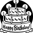 Triple tiered birthday cake with candles — Stock Vector #17239881