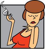 Female holding a cigarette — Stock Vector