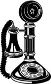 Retro candlestick phone in black and white — Stock Vector