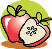 Halved red apple resting in front of a whole apple — Stock Vector