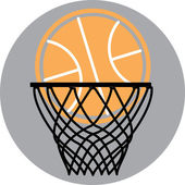 Basketball in a hoop — Stock Vector