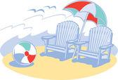 Blå trä solstolar under ett paraply — Stockvektor