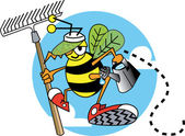 Worker bee ready to work in a garden — Stock Vector