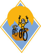 Biker Riding Bicycle — Stock Vector
