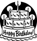 Triple tiered birthday cake with candles — Stock Vector