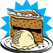 Slice of birthday cake and ice cream — Vector de stock