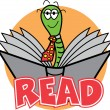 Happy male green worm wearing a tie and reading a book — Stock Vector