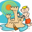 Boy building a sand castle with a moat on the beach — Stock Vector