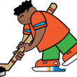 Stock Vector: Sporty boy hitting a hockey puck during a game or practice