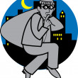 Stock Vector: Quiet burglar carrying sack of stolen goods