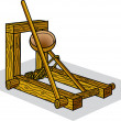 Historical Wooden Catapult - Stock Vector