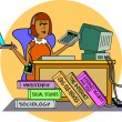 A student working at a computer — Stock Vector