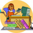 A student working at a computer — Stock Vector #17249107