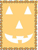 Orange background with a jack o lantern face and a border of candy corn — Stock Vector