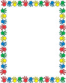 Border of colorful hand prints over white — Stock Vector