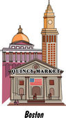 Boston Massachusetts city scene at Quincy Market — Stock Vector