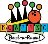Bowling ball and a lineup of pins — Stockvector
