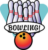Bowling ball by a lineup of pins — Stock Vector