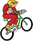 Chłopiec w mundurze i kask, jazda na rowerze bmx i łapanie powietrza — Wektor stockowy