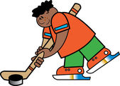 Sporty boy hitting a hockey puck during a game or practice — Stock Vector