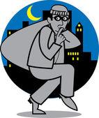 Quiet burglar carrying a sack of stolen goods — Stock Vector
