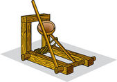 Historical Wooden Catapult — Stock Vector