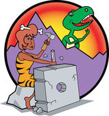 Prehistoric Cavewoman Chiseling a Modern Appliance — Stock Vector