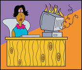 Woman Sitting At A Desk And Watching her computer burn — Stock Vector