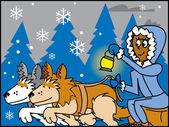 мультфильм ездовых собак — Cтоковый вектор
