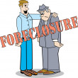 Stock Vector: Banker Giving Homeowner Bad News About Foreclosure