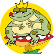 Fat Toad Sitting on a Mushroom — Stock Vector