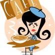 Stock Vector: Girl at the cafe