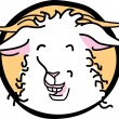 Happy white goat that appears to be laughing - Stock Vector