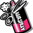 Hairspray Bottle And Scissors - Stock Vector