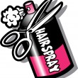 Hairspray Bottle And Scissors — Stock Vector