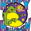 Green Fat Alien Licking His Lips With Text Reading Happy Halloween - Stock Vector