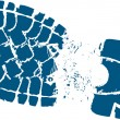 Blue Hikers Boot Track — Vector de stock #17427407