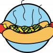Stock Vector: Steaming Hotdog In Bun Topped With Mustard And Relish