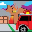 Fire Truck In Front Of A Burning House — Stock Vector