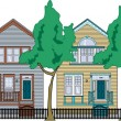 Row Of Perfect Victorian Houses — Stock Vector
