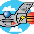 Stock Vector: Speedy Jet Speeding Through Cloudy Sky
